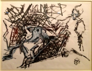 Auerbach felt tip drawing in NG from Degas' 'Combing the Hair'