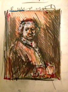 Day 6 Sketchbook page National Gallery, from Rembrandt