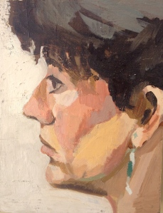 Woman's Head in Profile JONATHAN ELLIS oils 18 x 14cm 1983