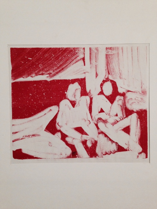 red JONATHAN ELLIS monoprint