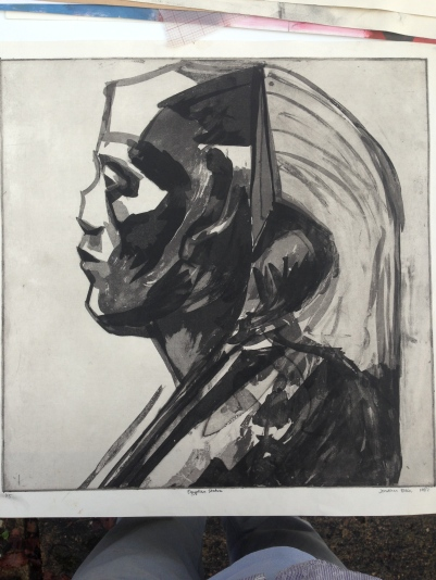 Senusret III profile JONATHAN ELLIS Aquatint etching 1987