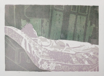 Model on mattress JONATHAN ELLIS linocut