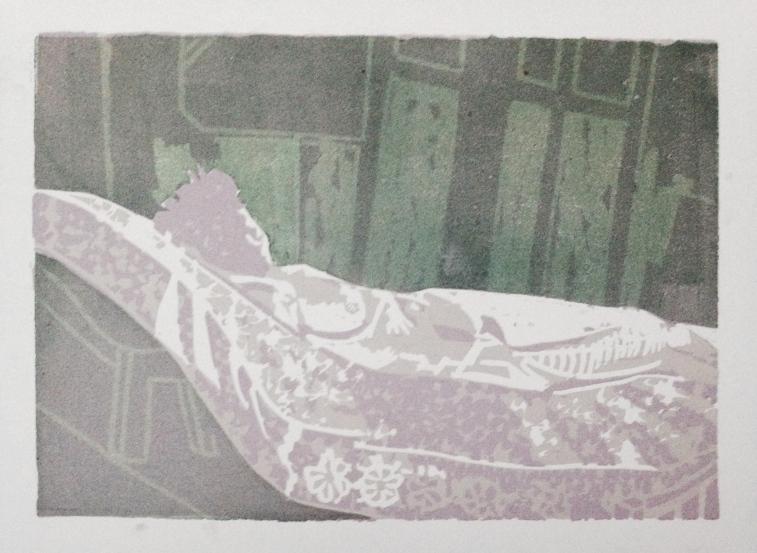 Model on mattress JONATHAN ELLIS linocut