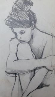 Pensive JONATHAN ELLIS Pencil on paper POA