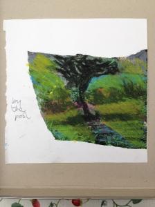 Tuscany JONATHAN ELLIS oil pastel on magazine page