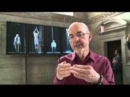 Bill Viola in front of Martyrs (Earth, Air, Fire, Water) at St Paul's Cathedral