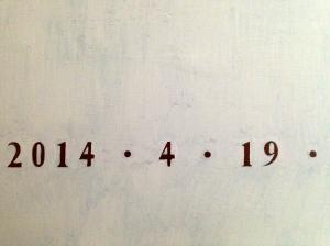 DATE (detail) JONATHAN ELLIS oil on canvas April 2014