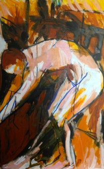 3.Jonathan Ellis Life Class - STAGE v 20 July 2014 Oil & markers on board