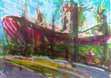 Velodrome 2 JONATHAN ELLIS Promarker drawing on canvas board 7 x 5 in 11 July 2014