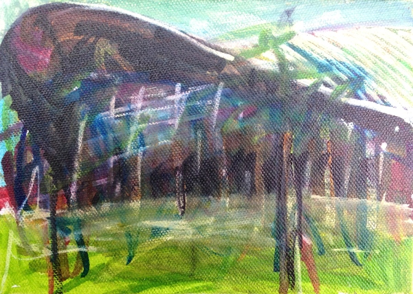 London Aquatics Centre 2 JONATHAN ELLIS Promarker drawing on canvas board 7 x 5 in 11 July 2014