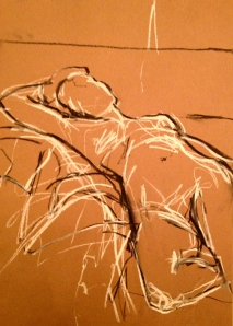 JONATHAN ELLIS Reclining Nude drawing 3 charcoal and white chalk