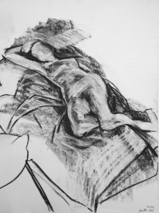 JONATHAN ELLIS Reclining Nude drawing 1 charcoal