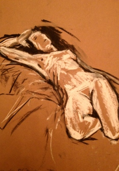 JONATHAN ELLIS Reclining Nude drawing 2 charcoal and white chalk