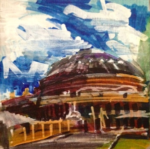 JONATHAN ELLIS Royal Albert Hall markers on canvas board 20 cm x 20 cm August 2014