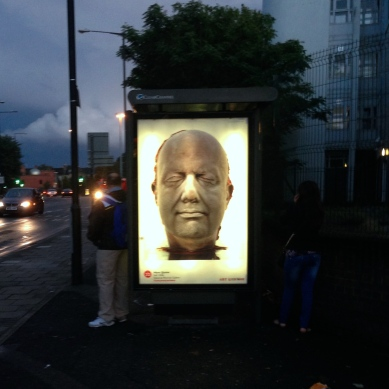 art everywhere: Quinn in Upper Clapton Road, E5 Marc Quinn standing next to his work?