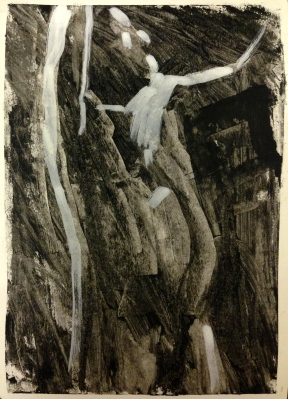 Barrie 2 JONATHAN ELLIS charcoal, colourless oilbar and white pen 8th September 2014