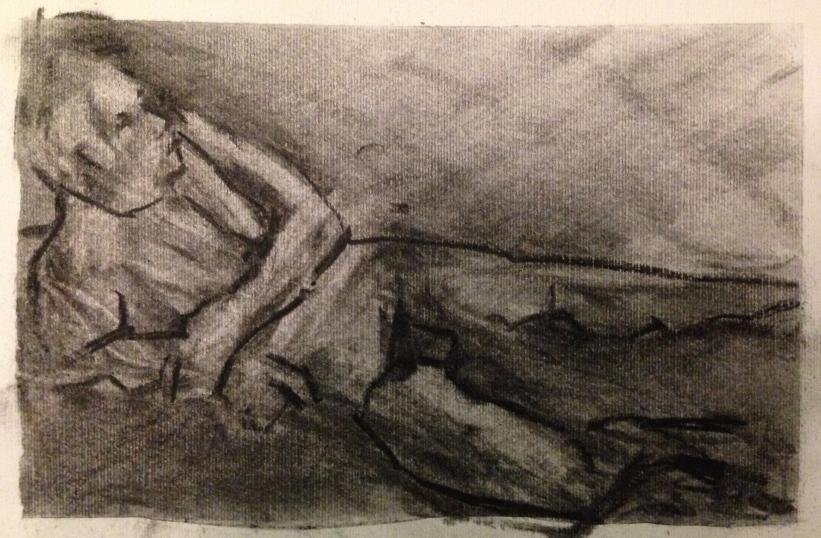 Michael 6 JONATHAN ELLIS charcoal on canvas board