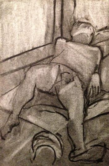 Michael 7 JONATHAN ELLIS charcoal on canvas board