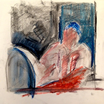 Richard JACQUIE oil pastels over charcoal Wednesday 8 October, 2014