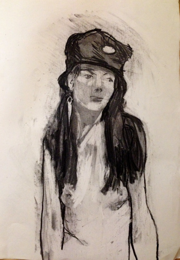 Estelle Head in Hat JONATHAN ELLIS charcoal on paper 26 October 2014