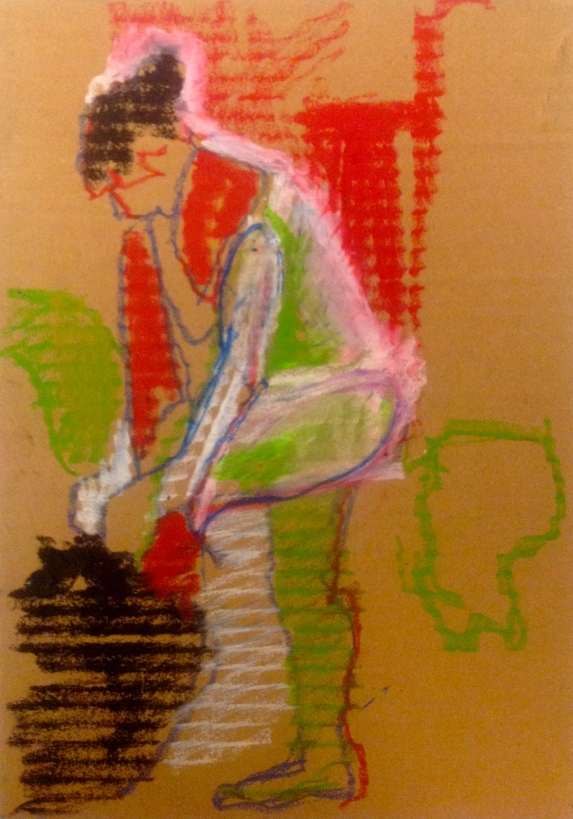 ANNIE exercise 2 Toulouse-Lautrec Life Class oil pastels on cardboard 26th November 2014