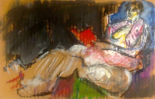 ANNIE exercise 4 Toulouse-Lautrec Life Class oil paint and oil pastel on cardboard 26th November 2014