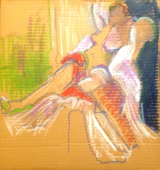 ANNIE exercise 3 Toulouse-Lautrec Life Class white oil paint and oil pastel on cardboard 26th November 2014