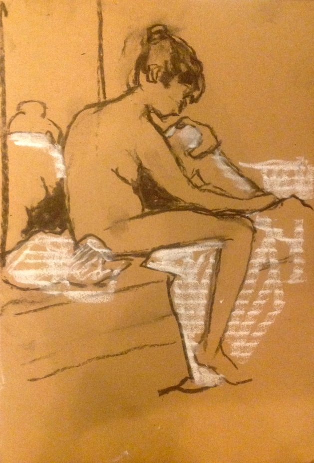 GILL exercise 1 Toulouse-Lautrec Life Class charcoal and white chalk on cardboard 26th November 2014
