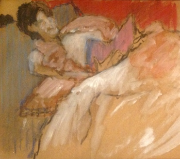 GILL exercise 4 Toulouse-Lautrec Life Class oil paint and oil pastel on cardboard 26th November 2014