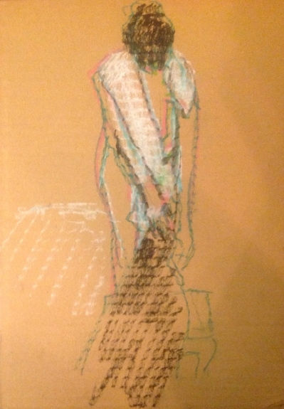 GILL exercise 2 Toulouse-Lautrec Life Class oil pastels on cardboard 26th November 2014