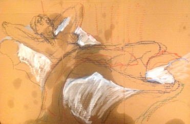GILL exercise 3 Toulouse-Lautrec Life Class white oil paint and oil pastel on cardboard 26th November 2014