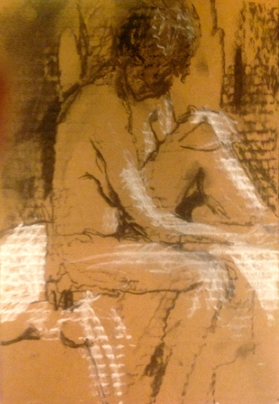 LUCY exercise 1 Toulouse-Lautrec Life Class charcoal and white chalk on cardboard 26th November 2014