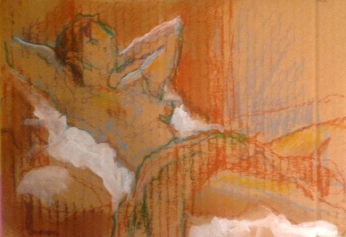 LUCY exercise 3 Toulouse-Lautrec Life Class white oil paint and oil pastel on cardboard 26th November 2014
