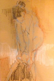 LUCY exercise 2 Toulouse-Lautrec Life Class oil pastels on cardboard 26th November 2014