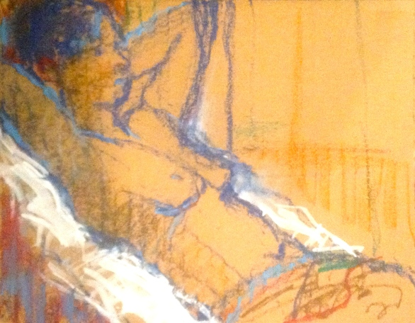 SARAH exercise 3 Toulouse-Lautrec Life Class white oil paint and oil pastel on cardboard 26th November 2014