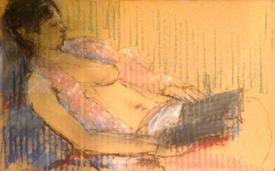 SARAH exercise 4 Toulouse-Lautrec Life Class oil paint and oil pastel on cardboard 26th November 2014