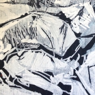 Reclining Model (first stage) detail 2 JONATHAN ELLIS acrylic and marker on wood 1 November 2014