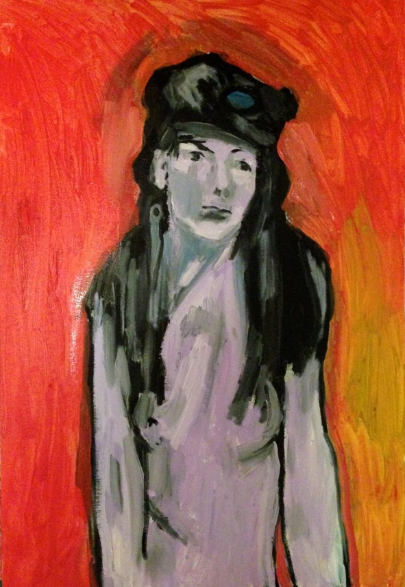 Estelle Head in Hat (second stage) JONATHAN ELLIS oil and acrylic on canvas 1 November 2014