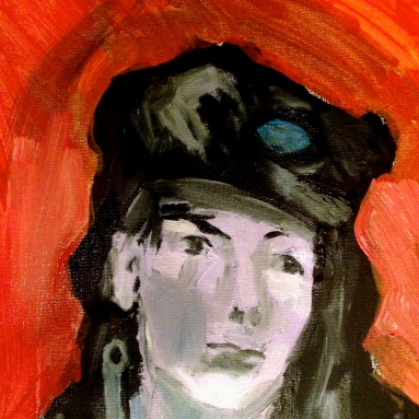 Estelle Head in Hat (second stage) detail 1 JONATHAN ELLIS oil and acrylic on canvas 1 November 2014
