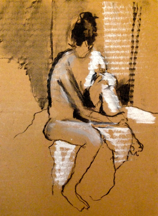 ANNIE exercise 1 Toulouse-Lautrec Life Class charcoal and white chalk on cardboard 26th November 2014