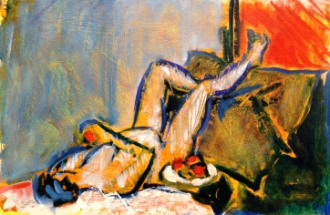 ANNIE painting exercise 1 Toulouse-Lautrec Life Class oils and oil pastels 26th November 2014