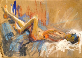 LUCY painting exercise 1 Toulouse-Lautrec Life Class oils and oil pastels 26th November 2014