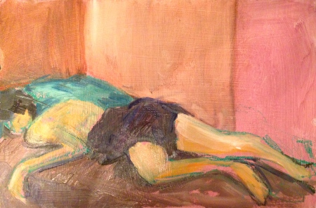 GILL painting exercise 3 Toulouse-Lautrec Life Class oils and oil pastels 26th November 2014