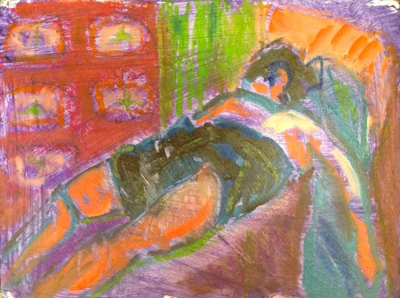 ANNIE painting exercise 3 Toulouse-Lautrec Life Class oils and oil pastels 26th November 2014