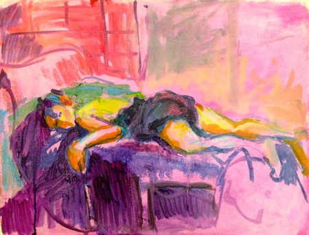 LUCY painting exercise 3 Toulouse-Lautrec Life Class oils and oil pastels 26th November 2014