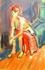 ANNIE painting exercise 2 Toulouse-Lautrec Life Class oils and oil pastels 26th November 2014