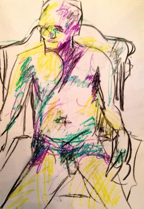 Auerbach marks GILL ROWE oil pastels and charcoal 10 December 2014