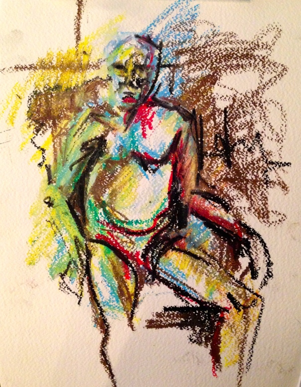 Auerbach marks ANNIE FIELD oil pastels and charcoal 10 December 2014