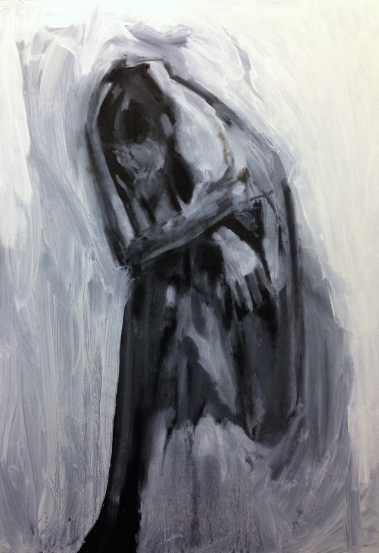 David (stage 3) JONATHAN ELLIS Oil and black acrylic on board 61 x 87 cm 28 December 2014