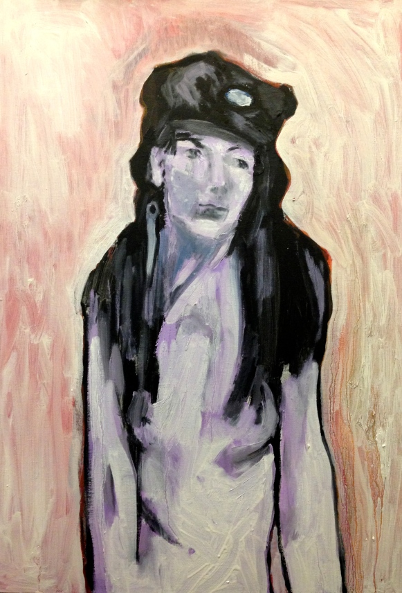 Estelle Head in Hat (third stage) JONATHAN ELLIS oil and acrylic on canvas 28 December 2014